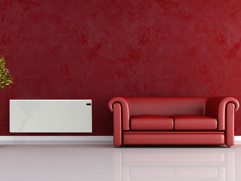 Adax Neo fehér színben vörös nappaliban