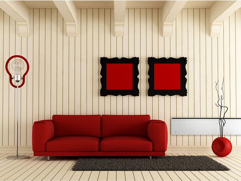 Glamox panel vörös szofa