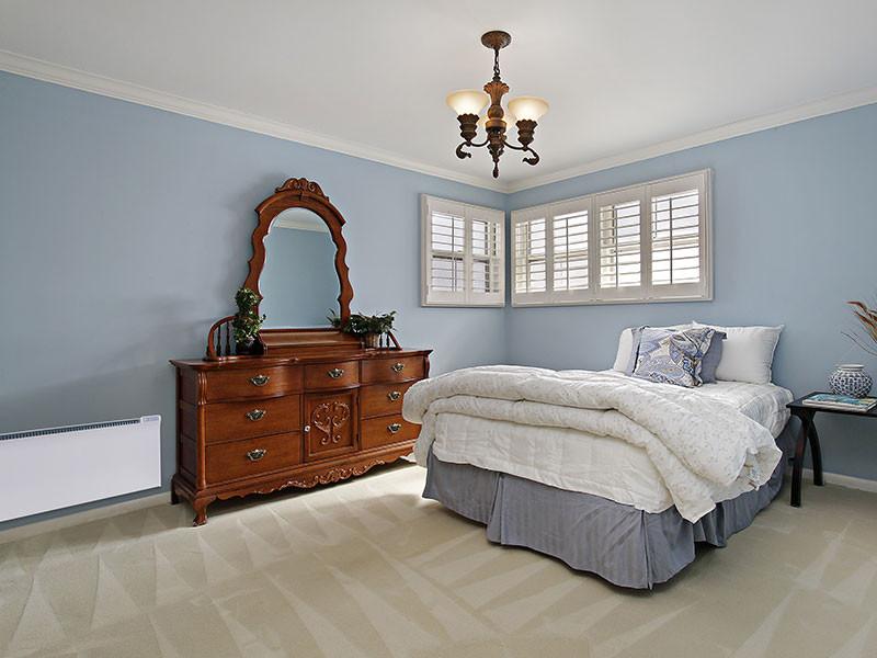 Glamox panel kék hálószoba
